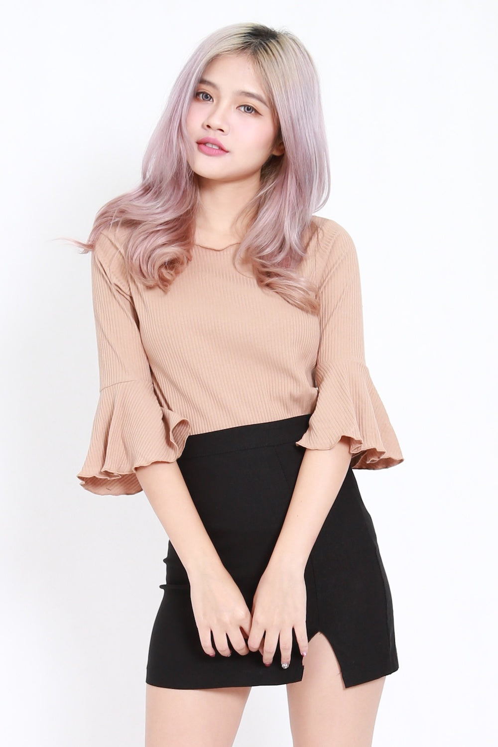 Flutter Sleeve Ribbed Top (Taupe)