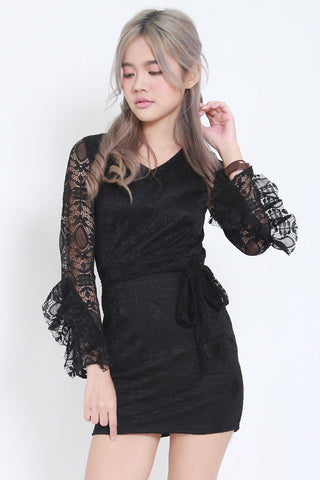 Flutter Sleeves Lace Dress (Black) -  - 2