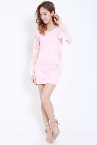 Flutter Sleeves Lace Dress (Pink) -  - 1