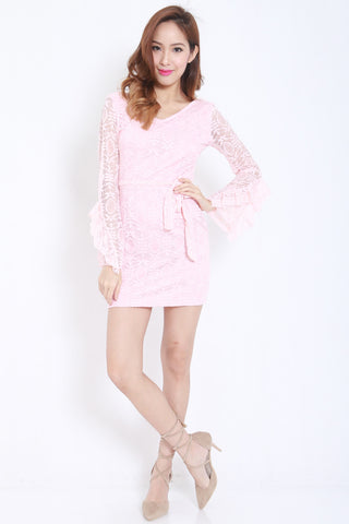 Flutter Sleeves Lace Dress (Pink) -  - 2