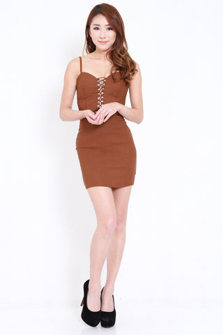 Front Lace Spag Dress (Camel)
