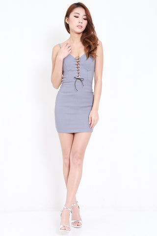 Front Lace Spag Dress (Grey)