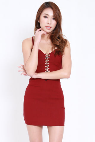 Front Lace Spag Dress (Maroon)