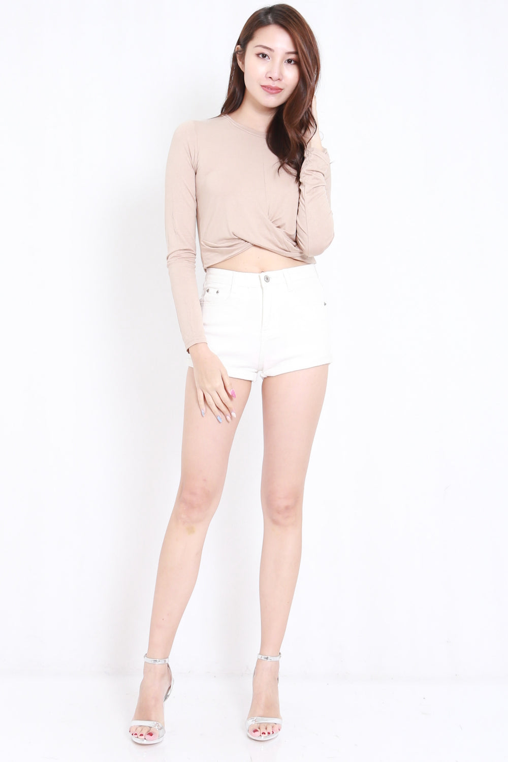 nude ls  Front Twisted LS Tee (Nude)