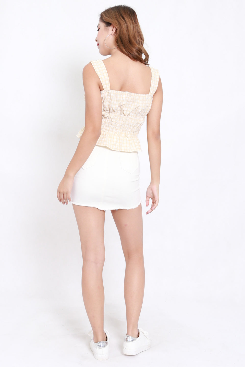 Gingham Puffed Crop Top (Cream)