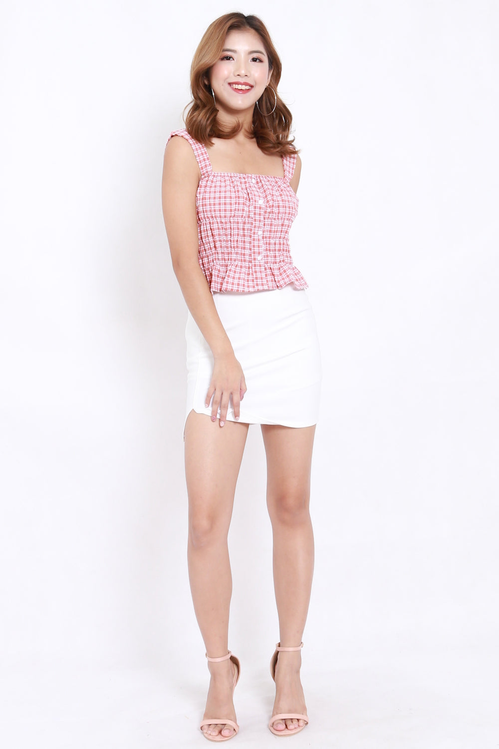 Gingham Puffed Crop Top (Pink)