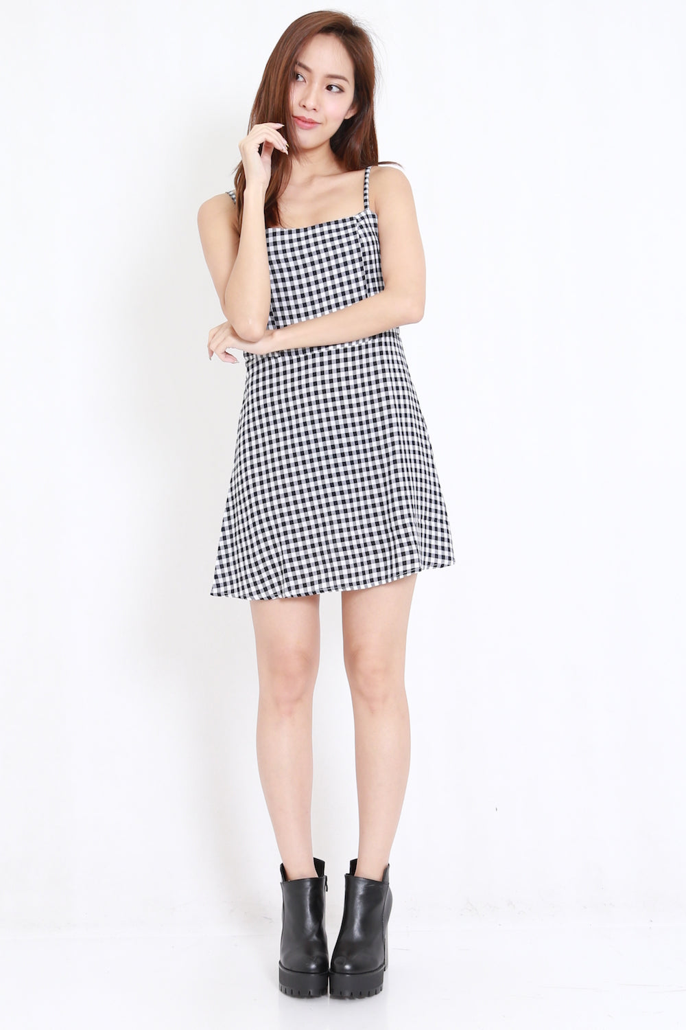 Gingham Skater Dress (Black)