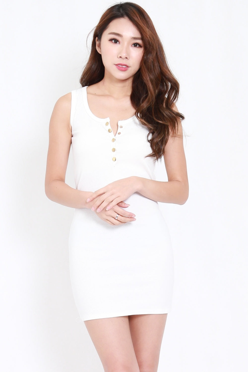 Gold Buttons Knit Tank Dress (White)