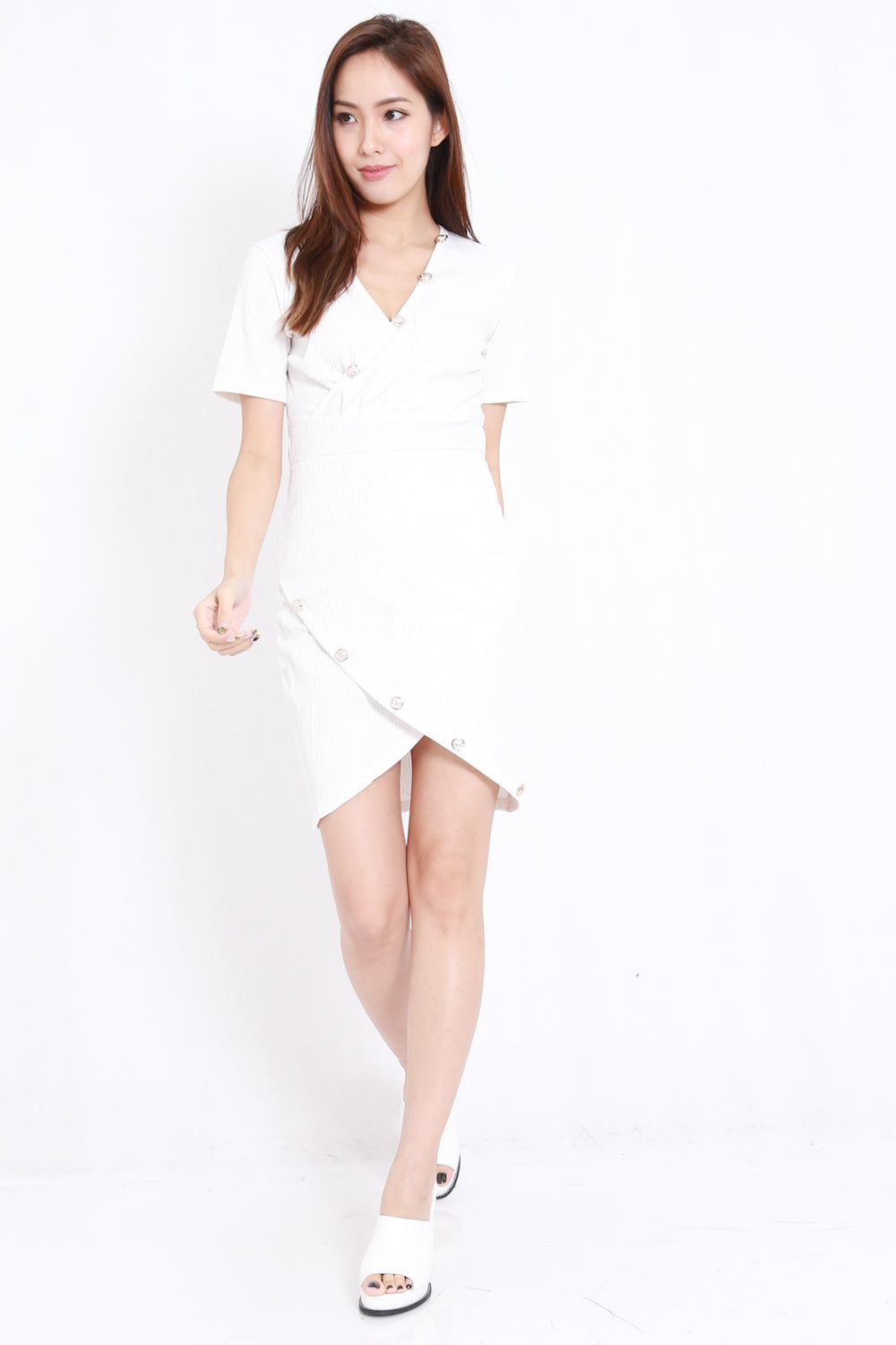 Gold Buttons Wrap Dress (White)