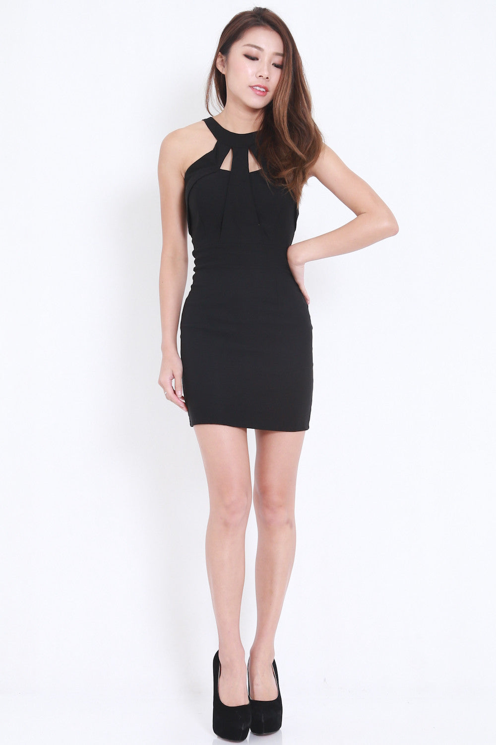 Grecian Bandage Dress (Black) -  - 2