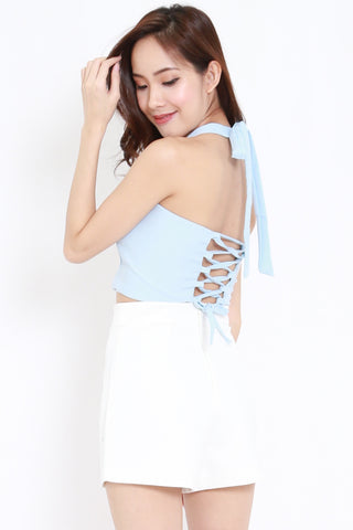 Halter Lace Back Top (Blue)