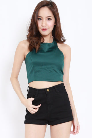 Halter Lace Back Top (Forest)