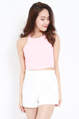 Halter Lace Back Top (Pink)