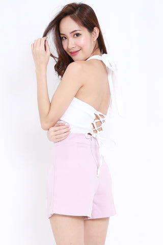 Halter Lace Back Top (White)
