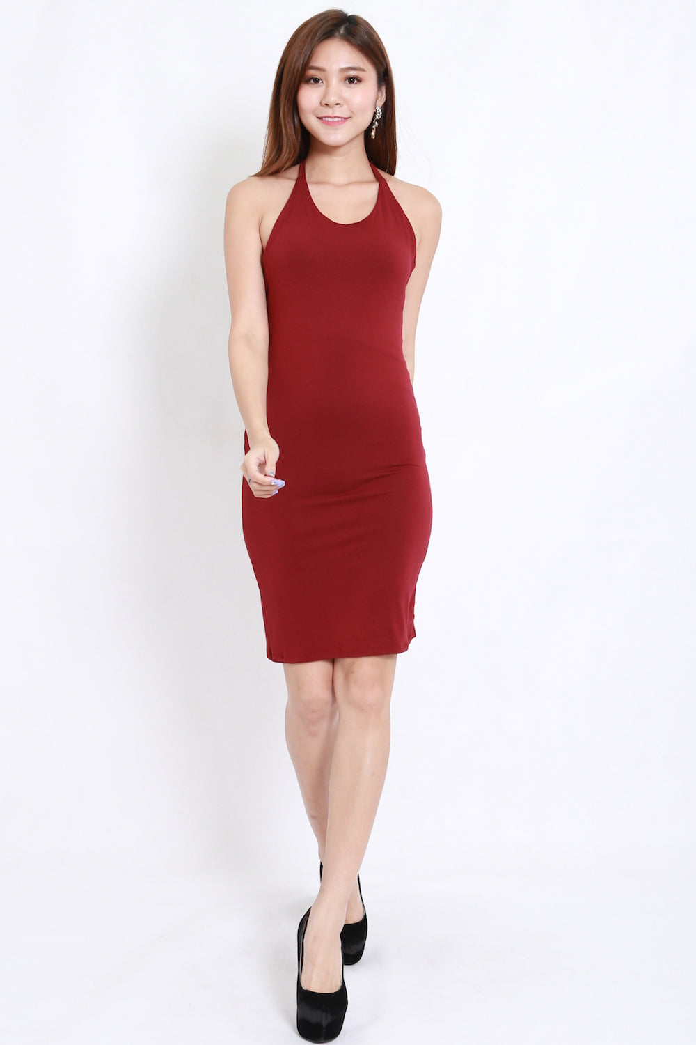 db50a147c6f5 Halter Midi Dress (Maroon) – Carrislabelle