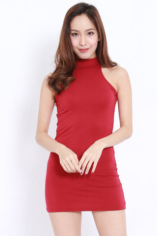 Halter Mini Dress (Maroon)