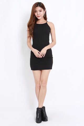Halter Ribbed Dress (Black)