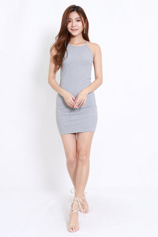 Halter Ribbed Dress (Grey)