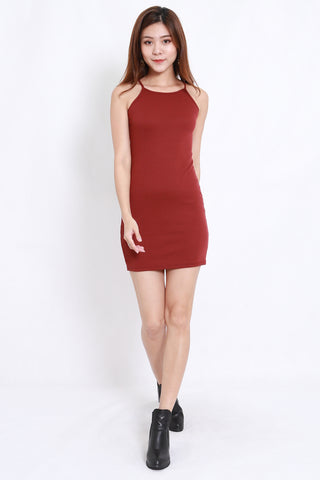 Halter Ribbed Dress (Maroon)