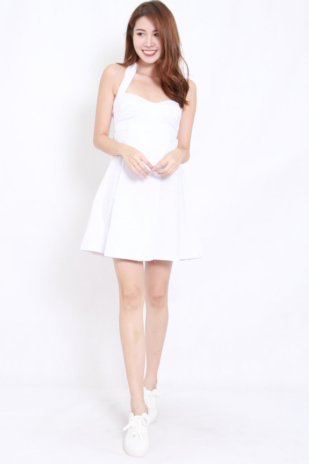 Halter Ribbon Back Dress (White)