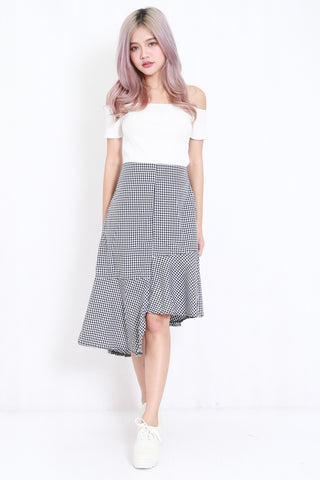 High-Low Gingham Skirt