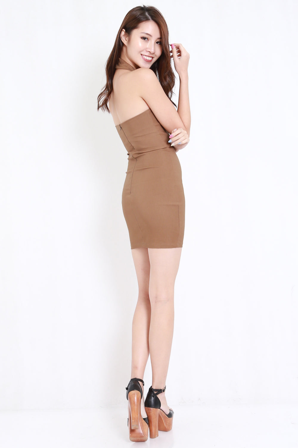 High Neck Cage Dress (Camel)