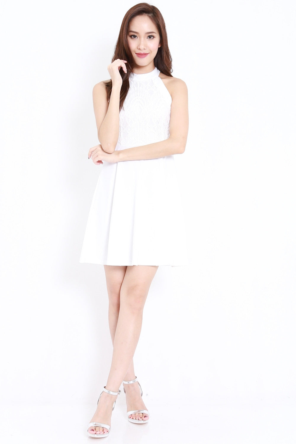 Home / Dresses / High Neck Crochet Dress (White)