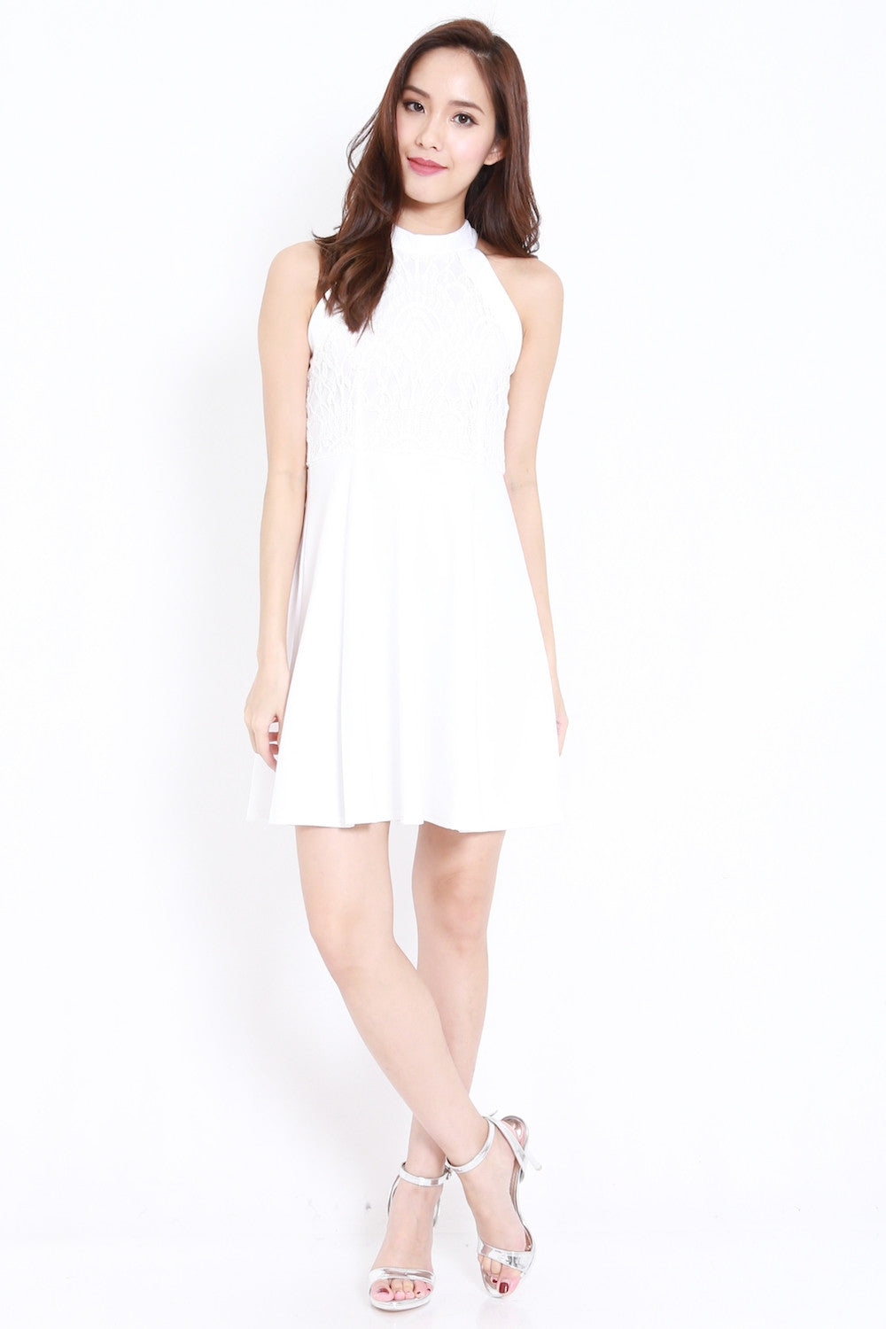 High Neck Crochet Dress (White) - Carrislabelle