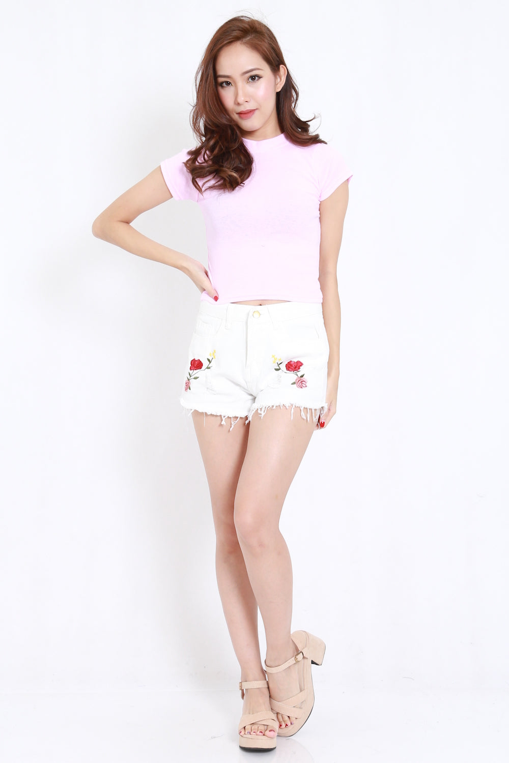 High Neck Crop Tee (Pink)