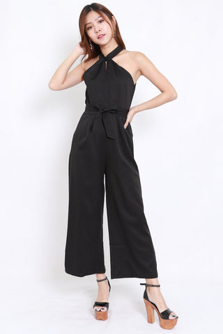 High Neck Halter Jumpsuit (Black)