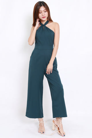 High Neck Halter Jumpsuit (Teal)
