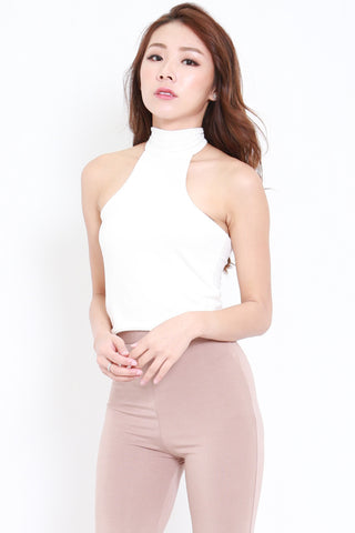 High Neck Halter Top (White)