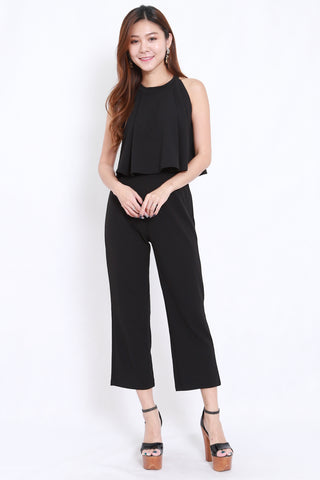 High Neck Jumpsuit 2pcs Set (Black)