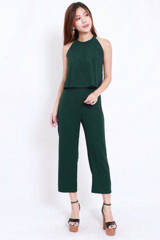 High Neck Jumpsuit 2pcs Set (Forest)