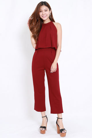 High Neck Jumpsuit 2pcs Set (Maroon)