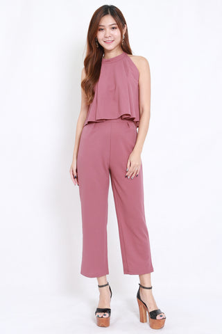 High Neck Jumpsuit 2pcs Set (Mauve)
