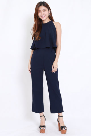 High Neck Jumpsuit 2pcs Set (Navy)