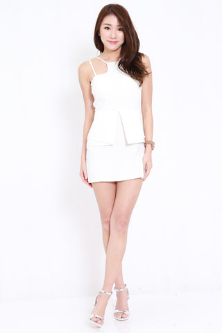 High Neck Peplum Dress (White)
