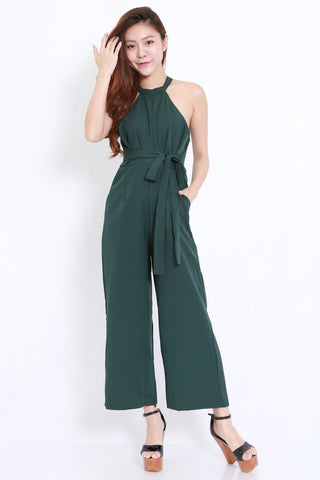High Neck Ribbon Jumpsuit (Forest)