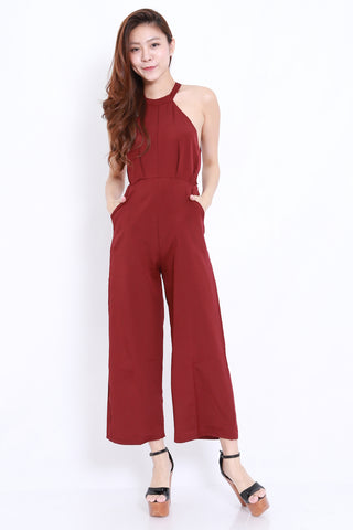 High Neck Ribbon Jumpsuit (Maroon)