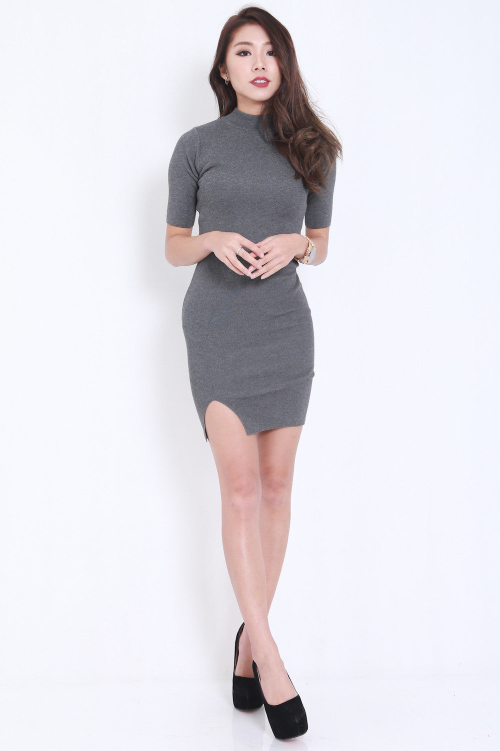 High Neck Slit Dress (Grey) -  - 4