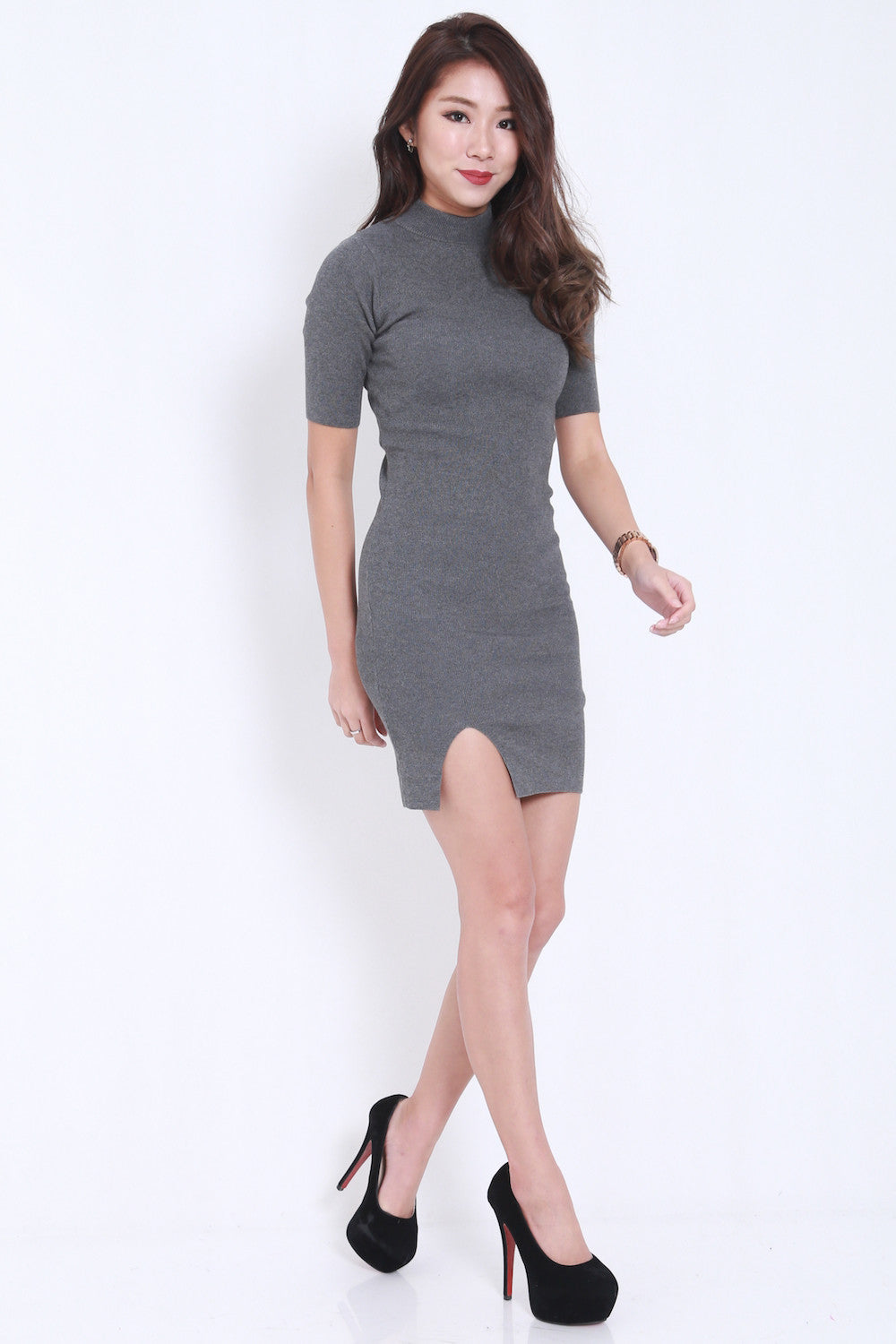 High Neck Slit Dress (Grey) -  - 2