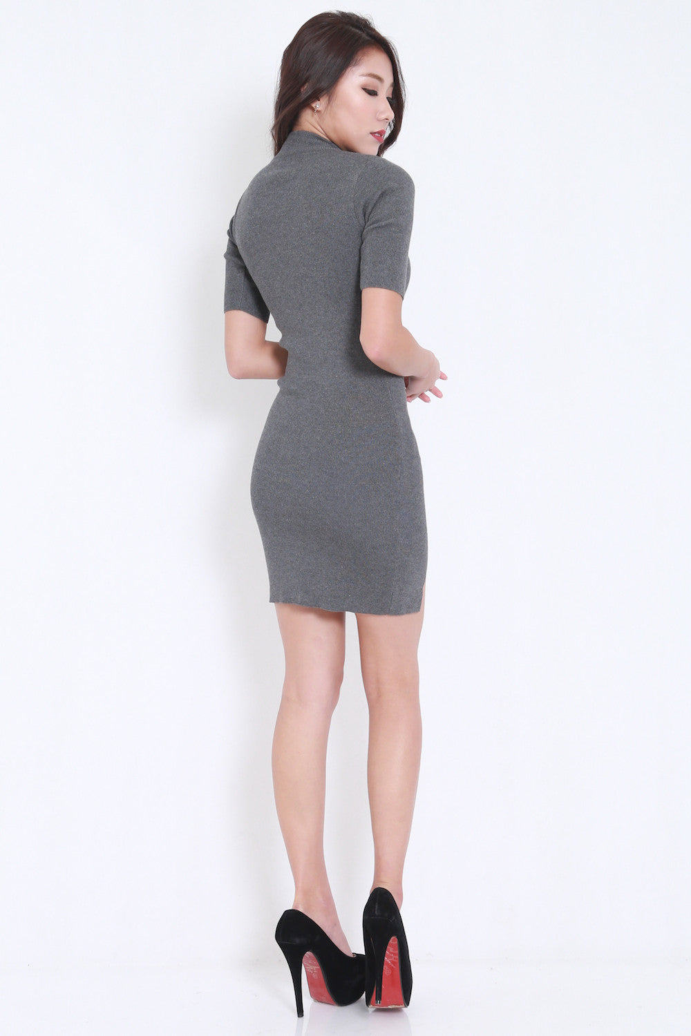 High Neck Slit Dress (Grey) -  - 5