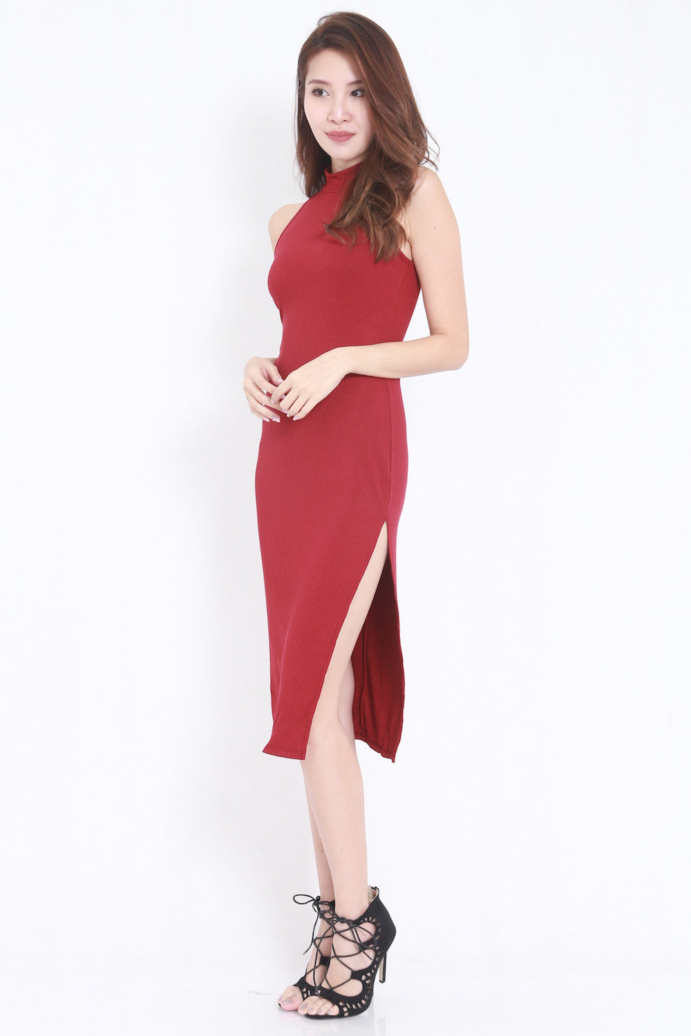 High Ribbed Midi Dress (Maroon)