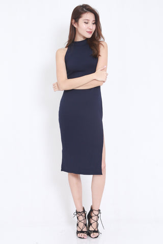 High Ribbed Midi Dress (Navy)