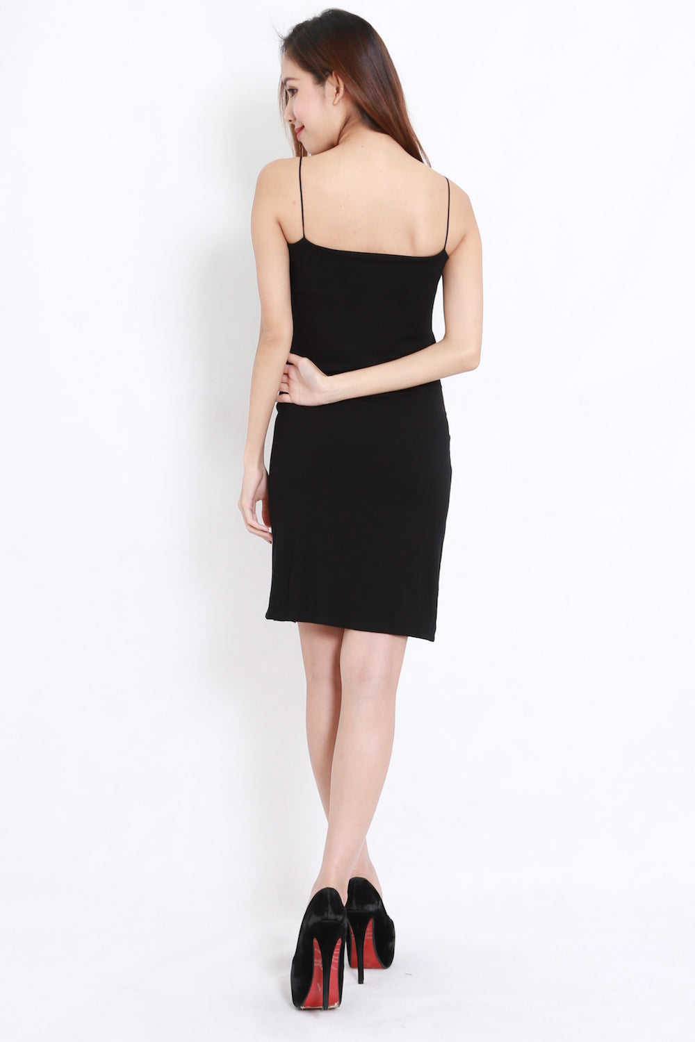High Slit Spag Dress (Black)