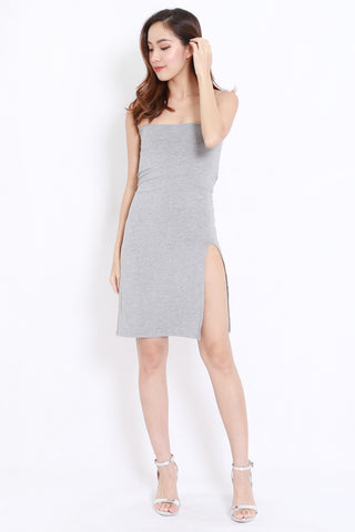 High Slit Spag Dress (Light Grey)