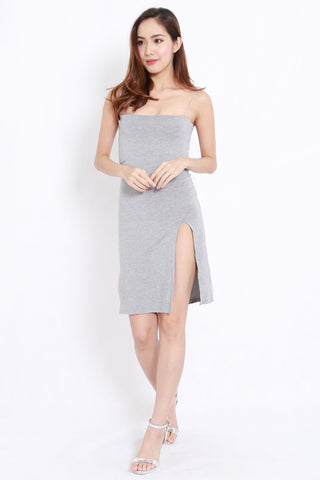 9aacf834f3 High Slit Spag Dress (Light Grey)