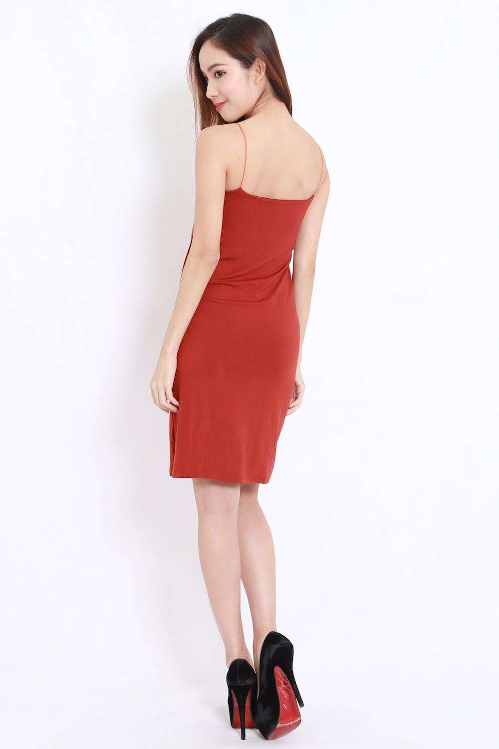 High Slit Spag Dress (Orange)
