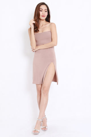 High Slit Spag Dress (Taupe)